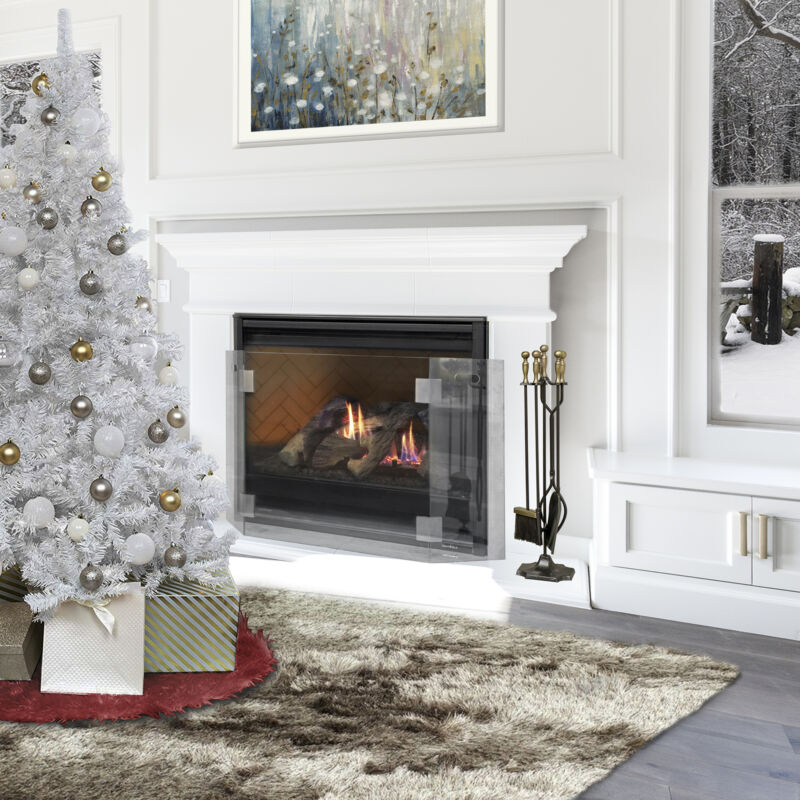 """47"""" Wide Freestanding Tempered Glass Fireplace Screen 3-Panel Glass w/ Handle"""