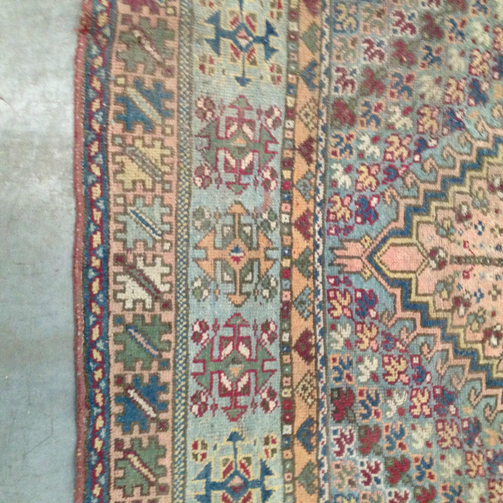 grand tapis d 39 orient ancien usure motif g om trique multi couleur xx si cle eur 460 00. Black Bedroom Furniture Sets. Home Design Ideas
