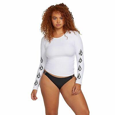 Volcom Juniors White Long-Sleeve Logo Rash Guard Swimsuit Cover Up S New  Junior Long Sleeve Rash Guard