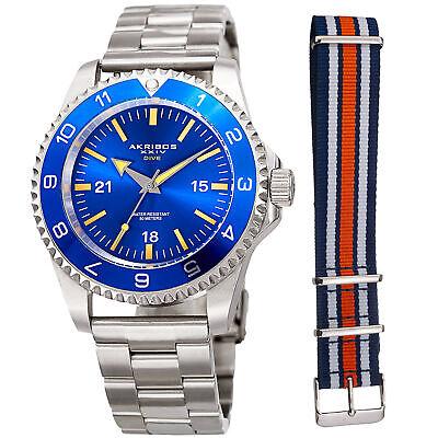 Men's Akribos XXIV AK1002SSBU Quartz Diver Silver-tone Stainless Steel Watch Set