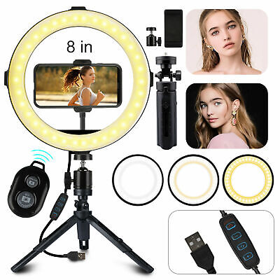 LED USB Selfie Ring Light +Tripod Stand+Cell Phone Holder Fo