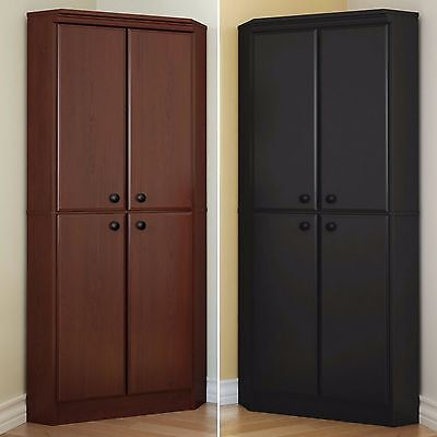 خزانة جديد Tall Cabinet Kitchen Storage Pantry Corner Wardrobe Food Organizer 4 Shelves New
