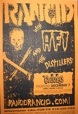 RANCID POSTER + HANDBILL with AFI & THE DISTILLERS Concert CANES San Diego
