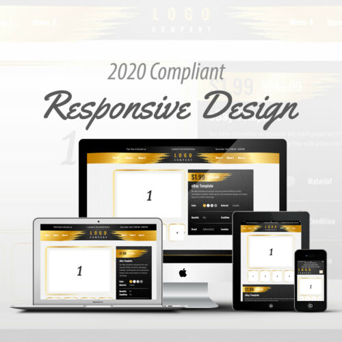 2020 Compliant Mobile Responsive eBay Auction Listing Template Glitter Design 01