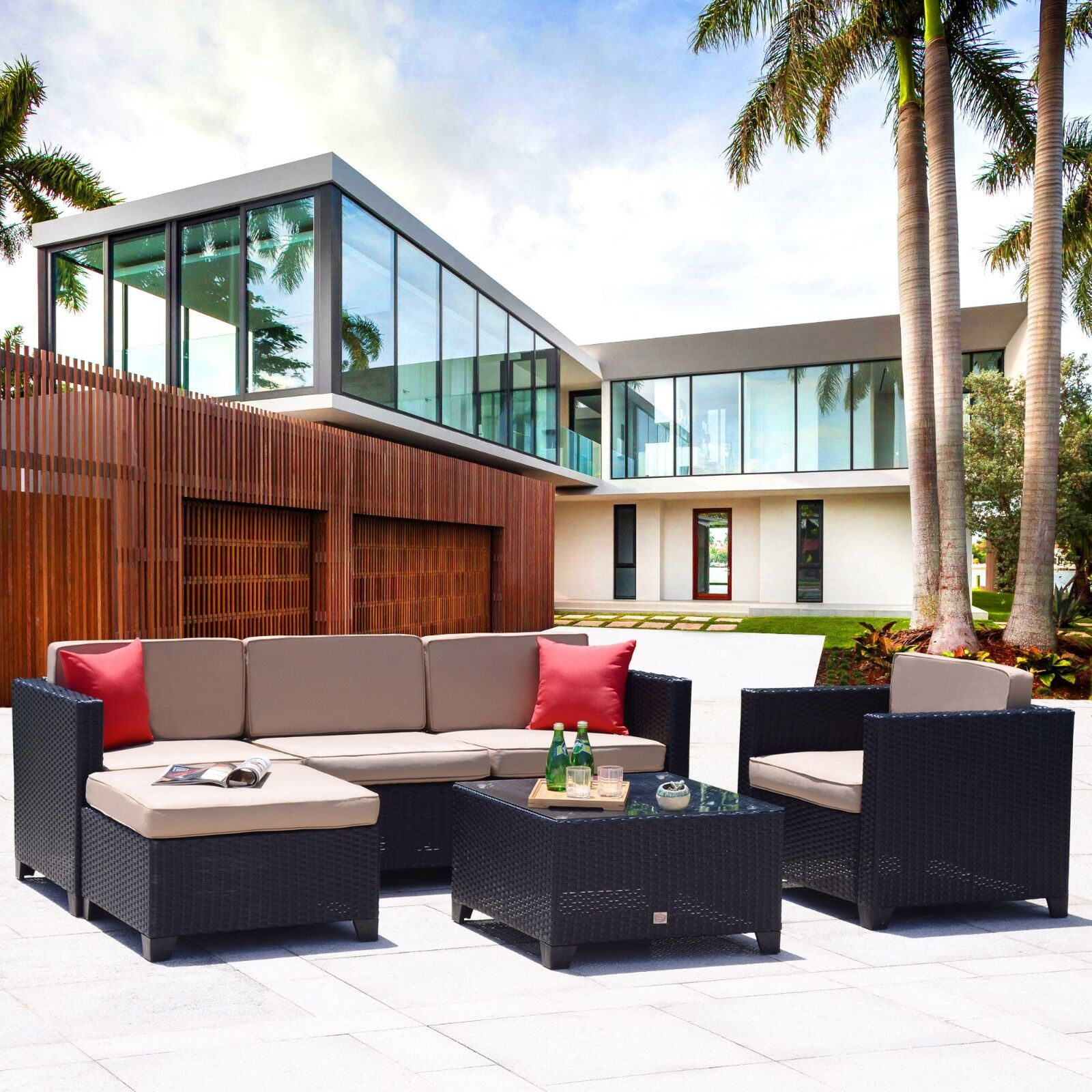Garden Furniture - 6PC Outdoor Patio Furniture Rattan Wicker Sofa Couch Garden Sectional Set Black