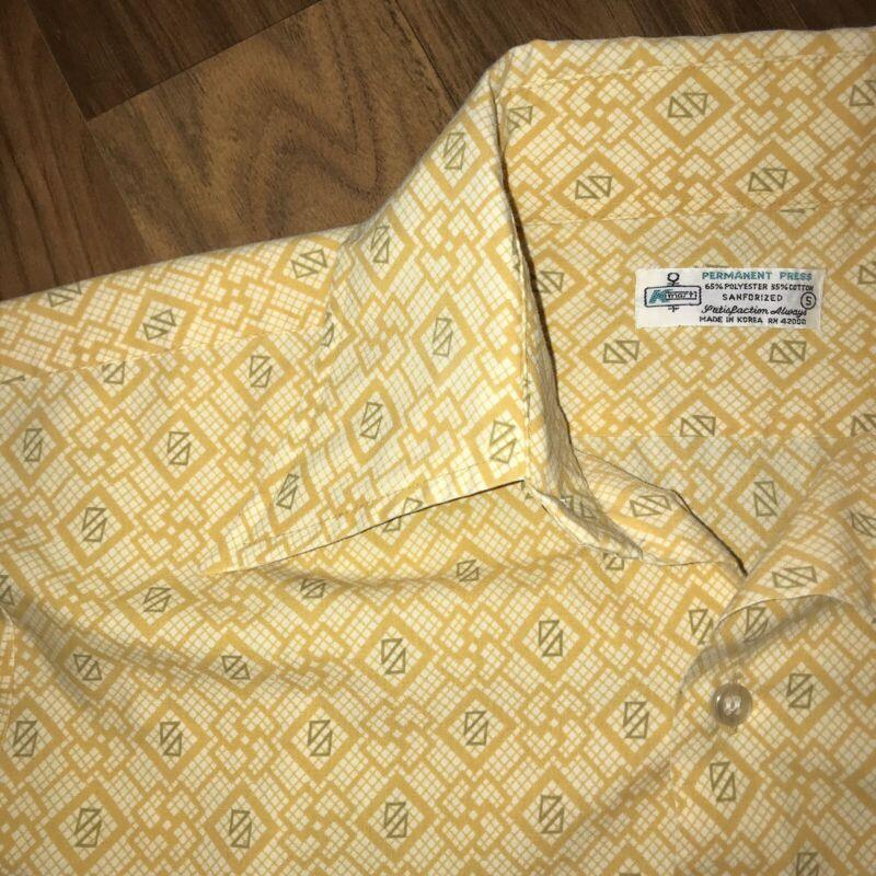 Vtg 60s 70s Yellow Geometric Print KMART Mens SMALL Disco Dress Shirt Sanforized