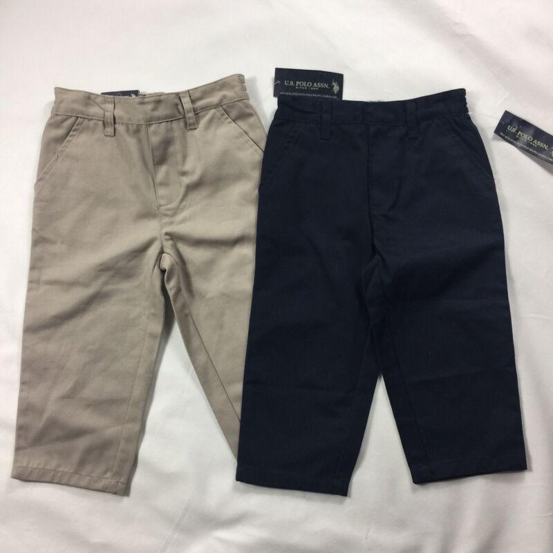 NWT Ralph Lauren Polo Assn Boys Pull on Pants sz 2T Lot of 2 Navy/Khaki Uniform