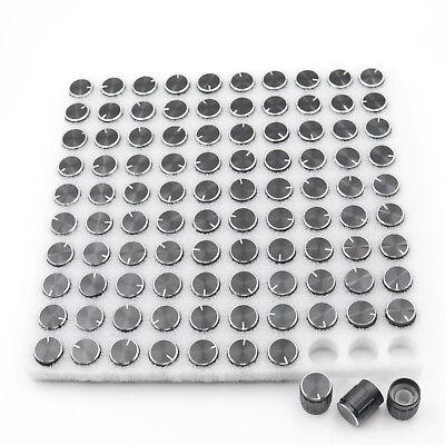 100pcs Black 15x17mm Aluminum Alloy Potentiometer Control Volume Knobs