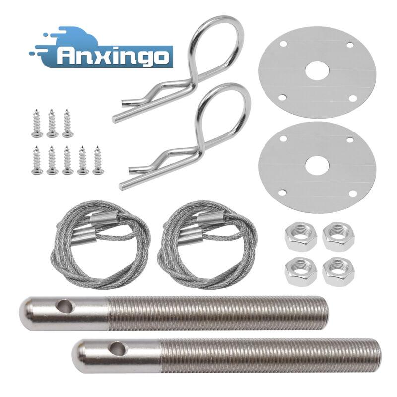 Stainless Steel Mount Hood Pin Plate Lock Bonnet Lock Clip Kit Universal