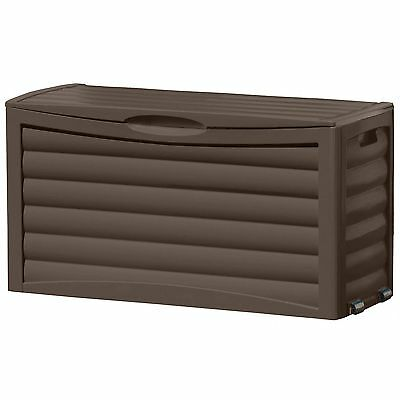 Suncast 63 Gallon Resin Outdoor Patio Deck Storage Box w/Wheels, Mocha | DB6300B