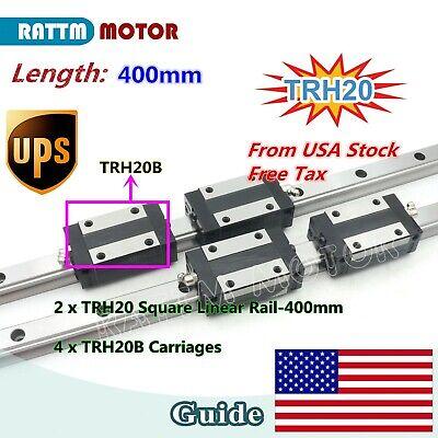 Us20mm Square Linear Guide Rail Trh20 L400mm 4pcs Block Carriages Cnc Router