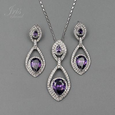 Amethyst Quartz Jewelry Set - Rhodium Plated Amethyst CZ Crystal Necklace Earrings Wedding Jewelry Set 01554