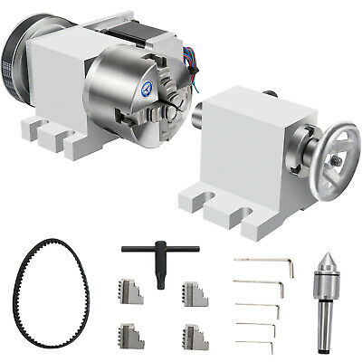 Vevor 4th Axis Home Cnc Milling Machine 100mm 4-jaw Chuck Rotary Axis 2 Phase