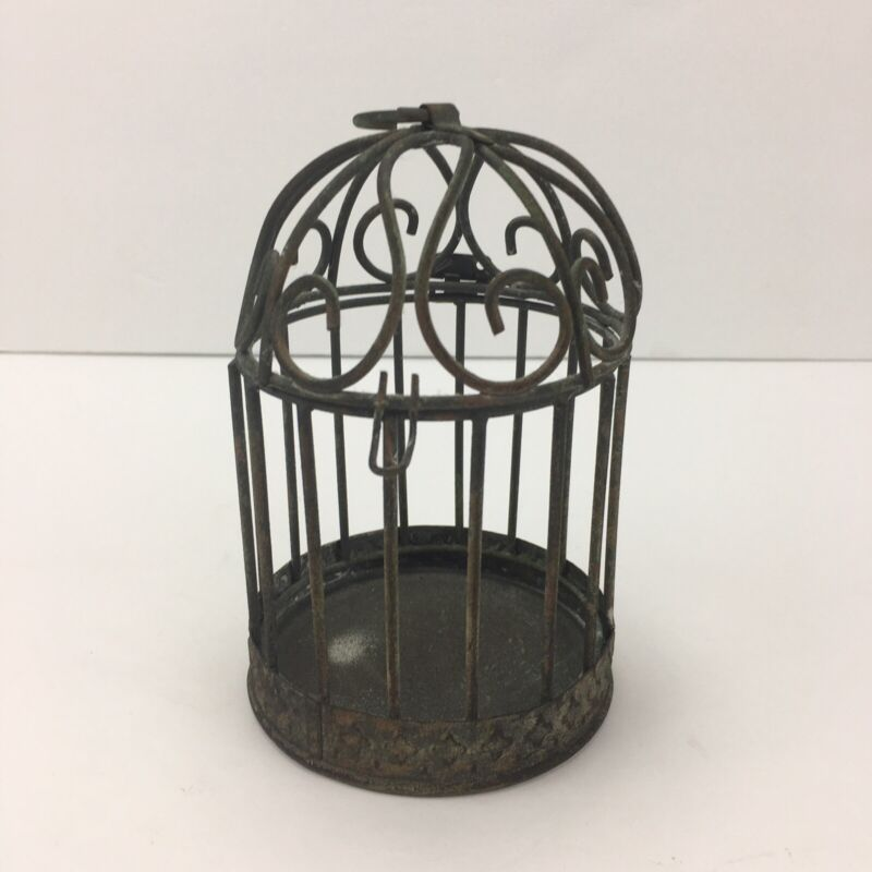 """Unique 5.5"""" Tall Rustic Decorative Metal Bird Cage - Round with Opening Dome"""