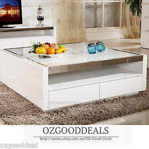 New High Gloss White Glass Top Square Coffee Table Cabinet 110X110X40 Plano