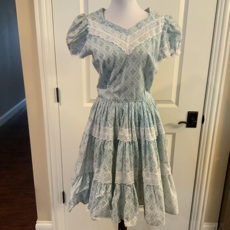 Vintage Pete Bettina Square Dance Dress Sz 12 Lt. Blue