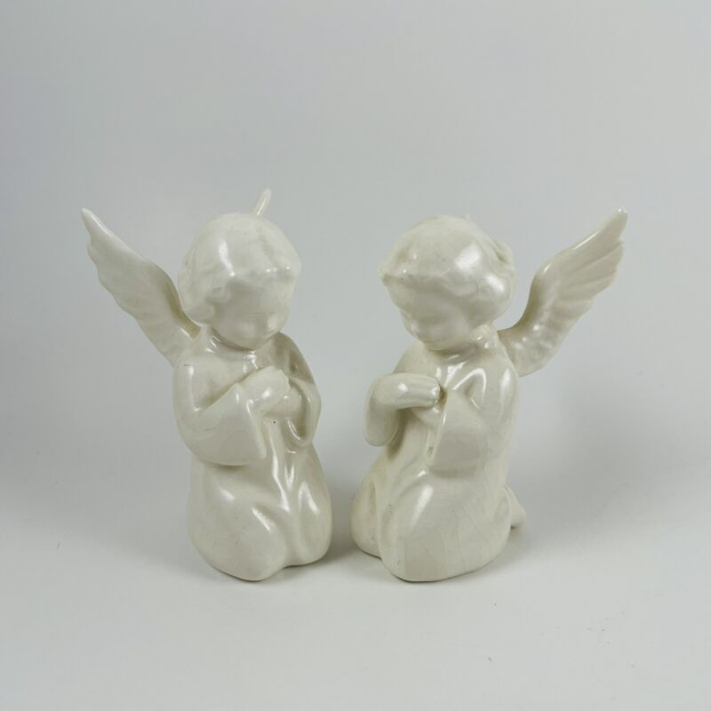 Vintage Sacrart Angel Figurines W/Stickers Rare HTF W. GERMANY Lot Of 2