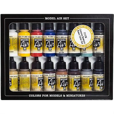 Vallejo Airbrush Farben Set 16x 17ml *Basis Airbrushfarben Acrylfarben