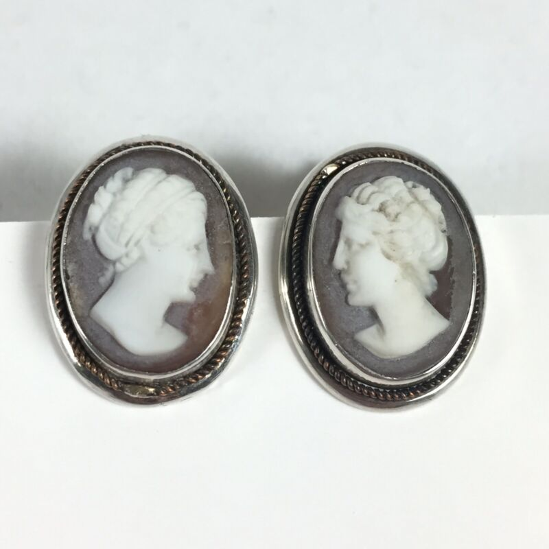 Antique Victorian Cameo 800 Silver Screwback Earrings