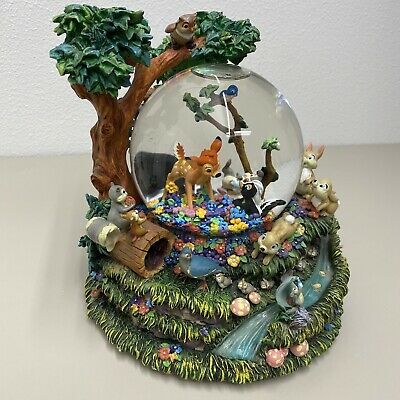 Rare Disney Bambi Little April Showers Large Musical Motion Snow Globe Clear H2O