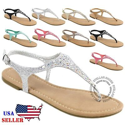 NEW Womens T-Strap Thong Gladiator Strappy Braided Flat Flip Flop Sandals Braided Strappy Sandal