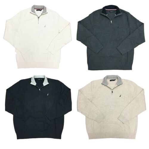 Nautica Pullover Sweater Mens 100% Cotton 1/4 Zip Heavyweight Top, $89