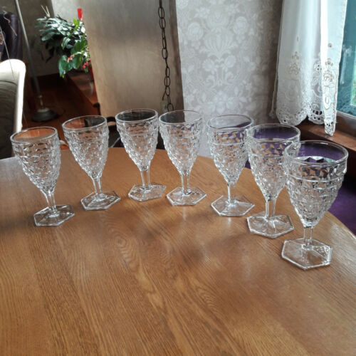 Set of 7 Fostoria American clear Goblets