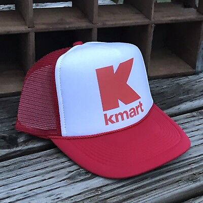 - Kmart Retail Store Vintage 80's Style Trucker Hat Mesh Snapback Red Logo Cap