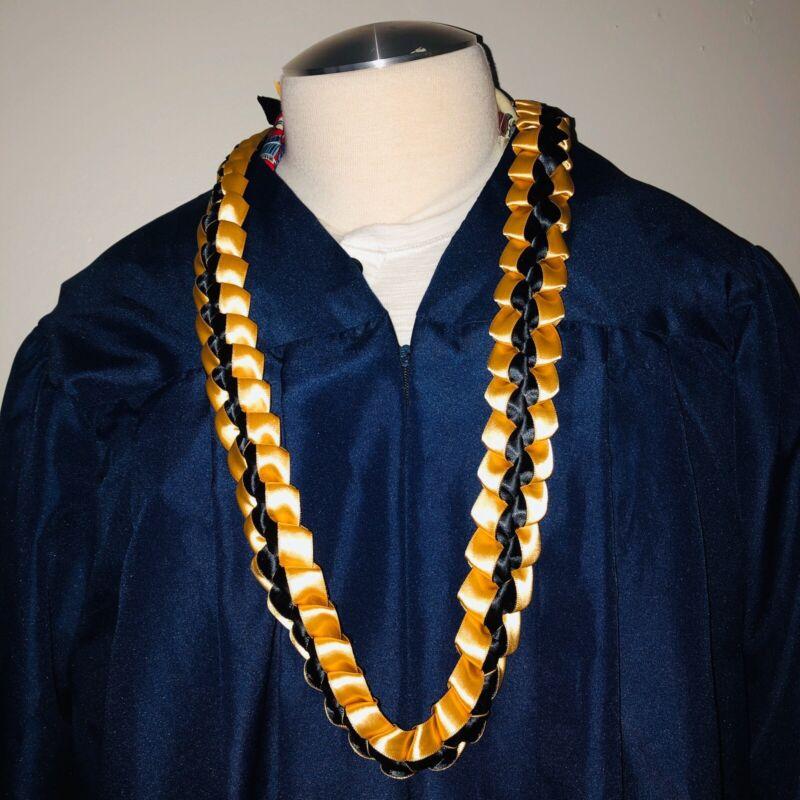 Black and Gold Ribbon Graduation Lei