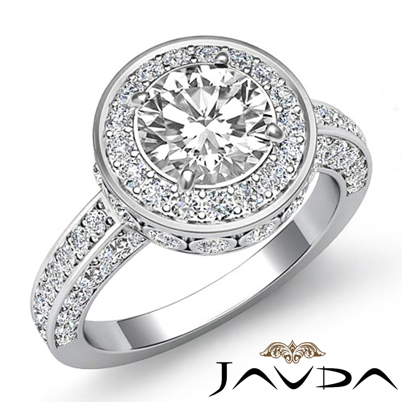 2.1ctw Halo Bezel Side Stone Round Diamond Engagement Ring GIA E-VVS1 White Gold