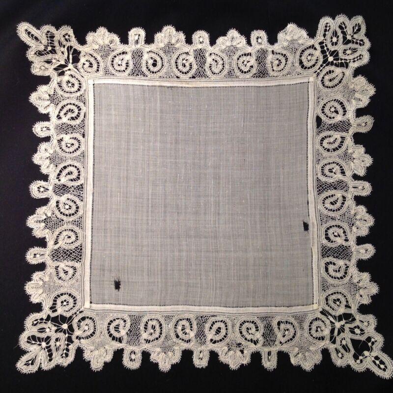 #5611🌟Antique 1800s CUTTER Fine Batiste Wide Tape-Lace Wedding Handkerchief