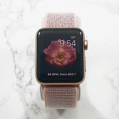 Apple Watch Series 3 38mm Gold Aluminium Case Pink Sand Nylon Loop GPS 8/10