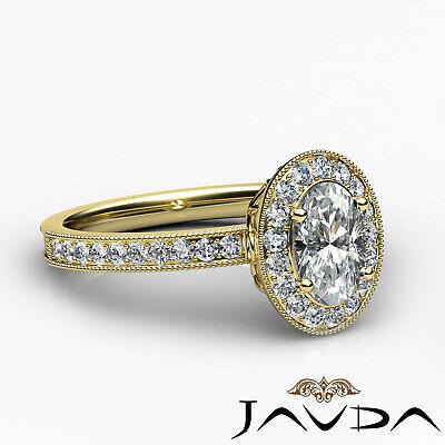 Milgrain Edge Pave Bezel Set Halo Oval Diamond Engagement Ring GIA F VVS2 1.21Ct 9