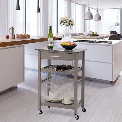 Glitzhome Rolling Kitchen Dining Room Island Trolley Serving Cart Drawer Basket Dining Room Kitchen Serving Cart