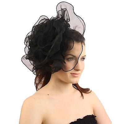 Elegant Derby Ruffle Floral Headband Fascinator Millinery Cocktail Hat Black
