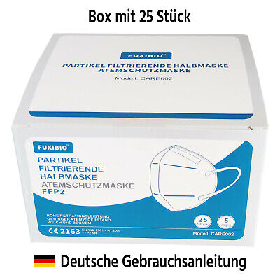 25 Stück Fuxibio FFP2 zertifizierte Atemschutzmaske CE2163 5-lagig Mundschutz