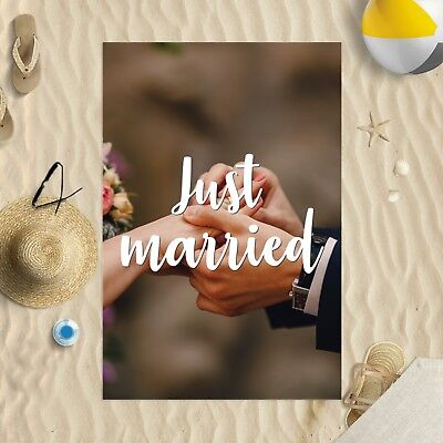 147x99.1cm Toalla Playa Just Married Imagen Diseño Microfibra Boda Luna de Miel