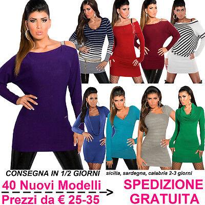 Maglione Lungo da Donna Maxi Pull Abito in Maglia Pullover Maxipull Moda Fashion