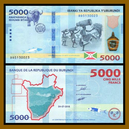 Burundi 5000 (5,000) Francs, 2018 (2019) P-New Buffalo Fish Unc