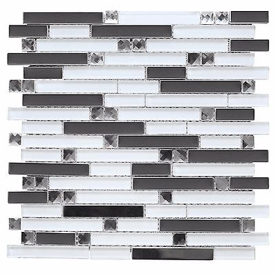 (Mirror Stainless Steel Glass Mosaic Diamond Decor Insert Backsplash Wall Tile)