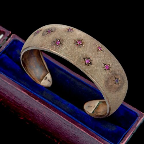 Antique Vintage Deco Retro Sterling Silver Gold Buccellati Style Ruby Bracelet