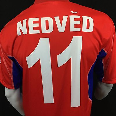 Czech Republic Nedved #11 2004 Portugal futbol Soccer Jersey Mens XL Red Blue  image