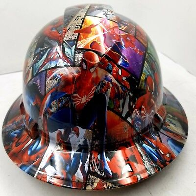 Full Brim Hard Hat Custom Hydro Dipped New Comic Book Spiderman Color New