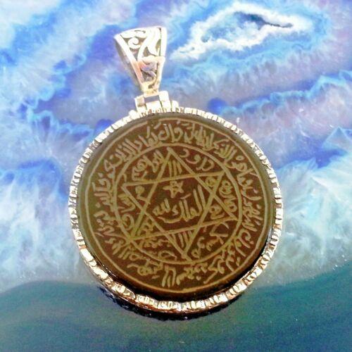 Seal of Solomon Talisman Pendant Engraving on Onyx 925 Sterling Silver