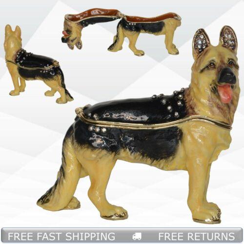 German Shepherd Dog Hinged Trinket Box With Lid Enamel Jeweled Crystals Ornament