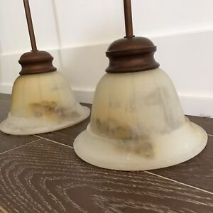 Two Copper Pendant Lights with Marbled Glass Shades