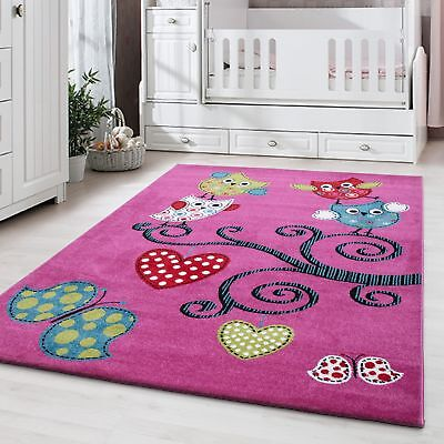 Kinderteppich Kinderzimmer Babyzimmer Bunt Niedliche Eulen Design Pink Oeko Tex Baby Eule Dekorationen