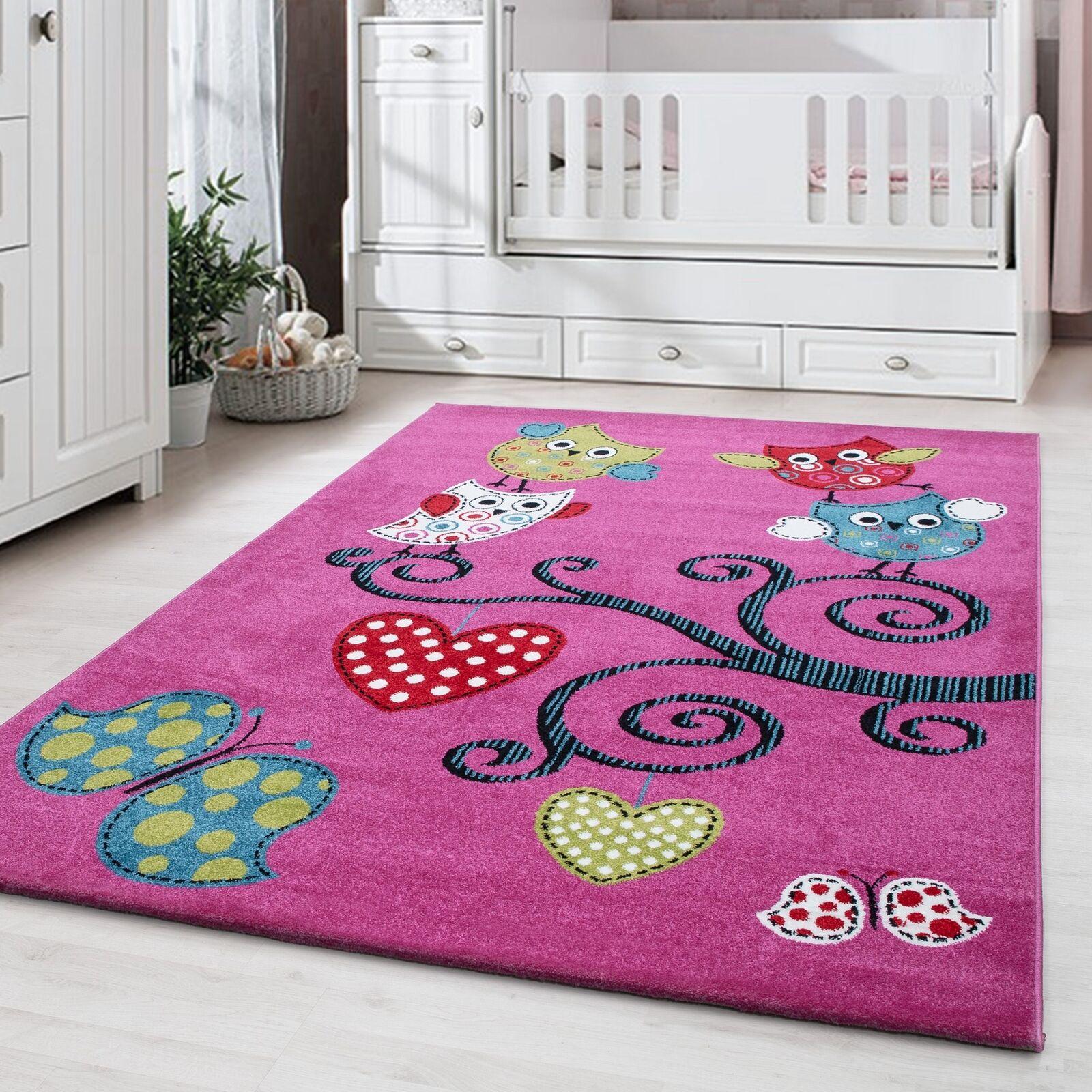 Kinderteppich Kinderzimmer Babyzimmer Bunt Niedliche Eulen Design Pink Oeko Tex