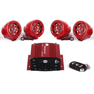 4 Channels Utv Atv Motor Anti Theft Speakers Fm  Usb Audio System Stereo