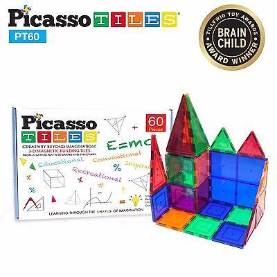 PicassoTiles PT60 60 Piece 3D Color Magnetic Magnet Building Blocks Tiles Set